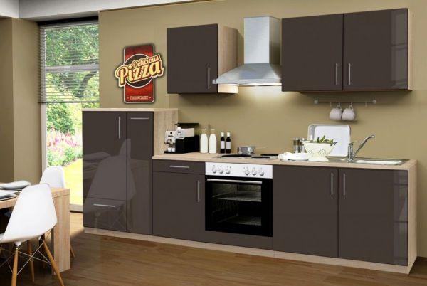 Küchenblock Einbauküche Premium 300 cm Einbauküche inkl. E-Geräte + Apothekerschrank Lava grau Hochglanz