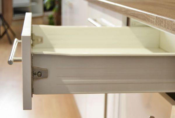 Küchenblock Einbauküche Premium 300 cm Einbauküche inkl. E-Geräte + Apothekerschrank Hochglanz weiß