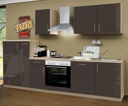 Küchenblock Einbauküche Premium inkl. E-Geräte + Geschirrspüler 300 cm breit in Lava grau Hochglanz
