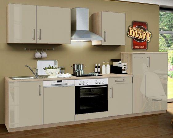 Küchenblock Einbauküche Premium inkl. E-Geräte + Geschirrspüler 310 cm breit in Sahara Eiche Hochglanz