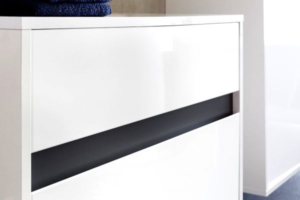 Badmöbelset Sol echt Lack Hochglanz weiß und grau 5-teilig 180 cm mit Spiegelschrank