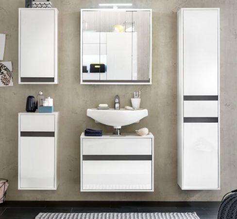 Badmöbel komplett Set echt Lack Hochglanz weiß und grau 5-teilig SOL Hängeschränke