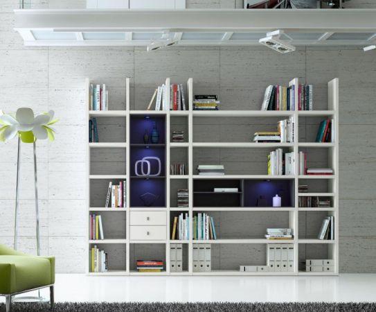 Wohnwand Bücherwand MDor Dekor Lack weiß matt schwarz LED-Beleuchtung Breite 284 cm