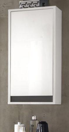 Badezimmer Hängeschrank Sol echt Lack Hochglanz weiß und grau