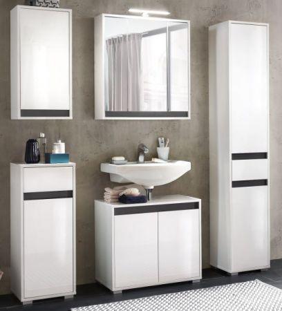 Badschrank Kommode SOL echt Lack Hochglanz weiß und grau Unterschrank 35x89 cm