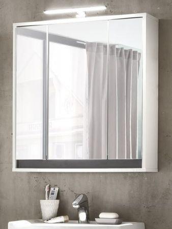 Bad Spiegelschrank 3 Türen 3D in weiß und grau SOL 67 x 73 cm