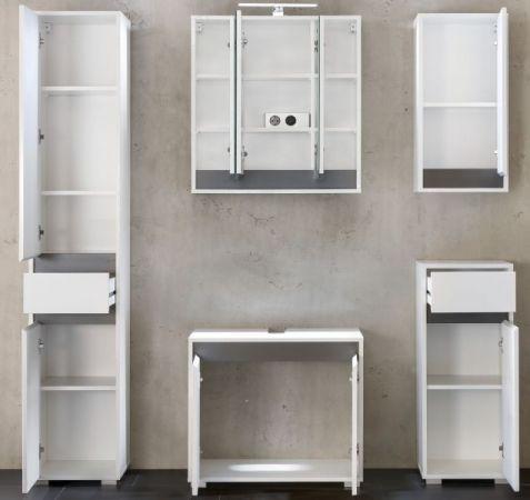 Badschrank Hochschrank echt Lack Hochglanz weiß und grau Badezimmer SOL