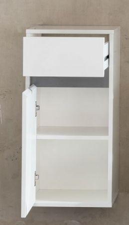 Bad Hängeschrank SOL echt Lack weiß Hochglanz und grau Badezimmer Kommode 35x73 cm