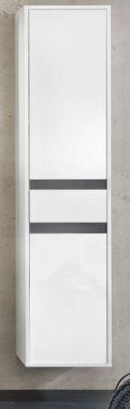 Bad Hochschrank SOL echt Lack Hochglanz weiß und grau 35x172 cm Hängeschrank