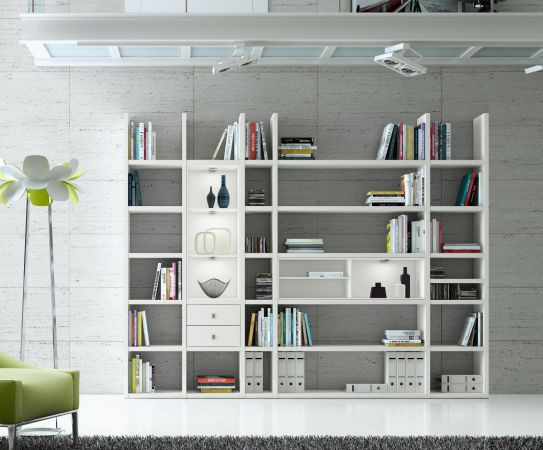 Wohnwand Bücherwand MDor Dekor Lack weiß matt LED-Beleuchtung Breite 284 cm