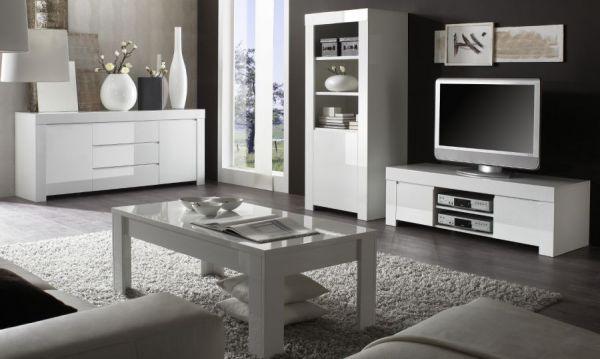 Tisch Couchtisch weiss Hochglanz Lack 122 x 65 Livorno