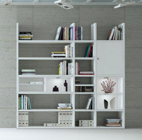 Wohnwand Bücherwand MDor Dekor Lack weiß matt schwarz LED-Beleuchtung Breite 227 cm