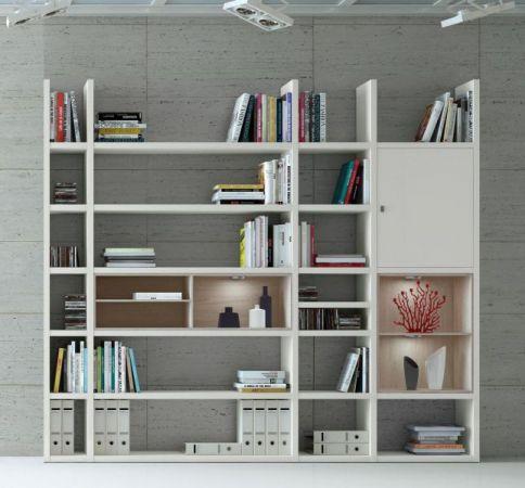 Wohnwand Bücherwand MDor Dekor Lack weiß matt Eiche Natur LED-Beleuchtung Breite 252 cm