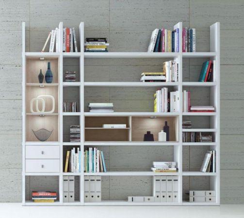 Wohnwand Bücherwand MDor Dekor Lack weiß matt schwarz LED-Beleuchtung Breite 238 cm