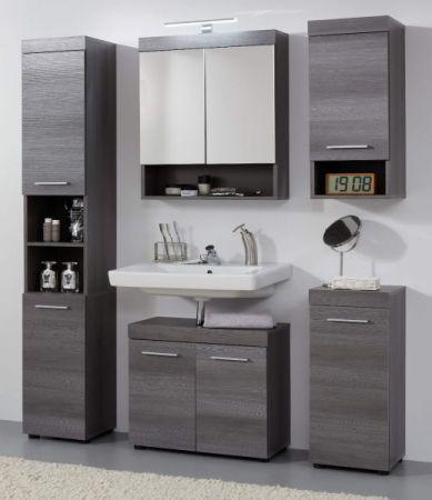 Badmöbel Set Runner 2-teilig grau / Sardegna Rauchsilber Waschbeckenunterschrank und Spiegelschrank