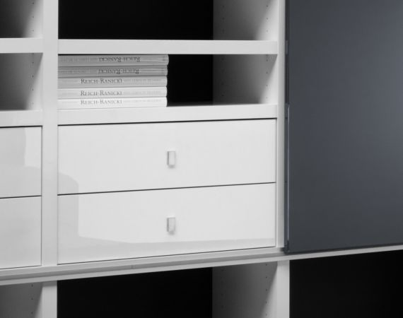 Wohnwand Bücherwand Dekor Lack weiß Hochglanz Eiche Natur LED-Beleuchtung Breite 238 cm