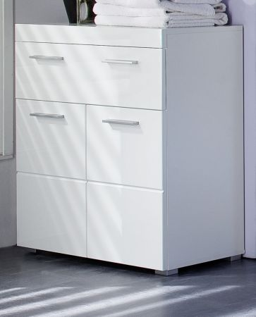 Badschrank Kommode weiß Hochglanz tiefgezogen 73 x 80 cm Badezimmer Amanda