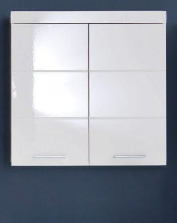 Badezimmer Hängeschrank Amanda in Hochglanz weiß Badschrank 73 x 77 cm Badmöbel