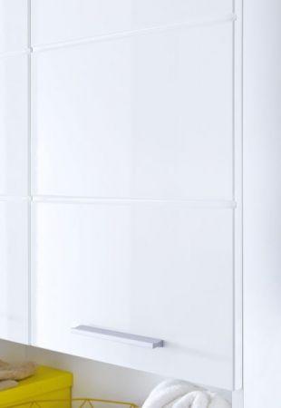Badezimmer Hochschrank Amanda in Hochglanz weiß Badschrank 73 x 190 cm Badmöbel Mehrzweckschrank