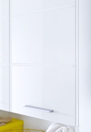 Badezimmer Midischrank Amanda in Hochglanz weiß Badschrank 73 x 132 cm Badmöbel Mehrzweckschrank