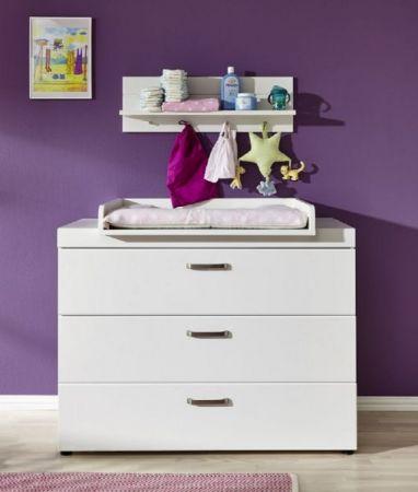 Babyzimmer komplett Set Luca-S in matt weiß 3-teilig mit Kleiderschrank Babybett und Wickelkommode