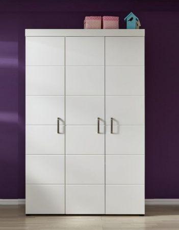 Babyzimmer Kleiderschrank Luca-S in matt weiß mit Kleiderstange 205 cm