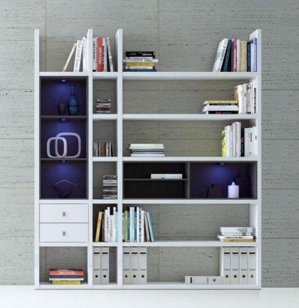 Wohnwand Bücherwand MDor Dekor Lack weiß matt LED-Beleuchtung Breite 193 cm