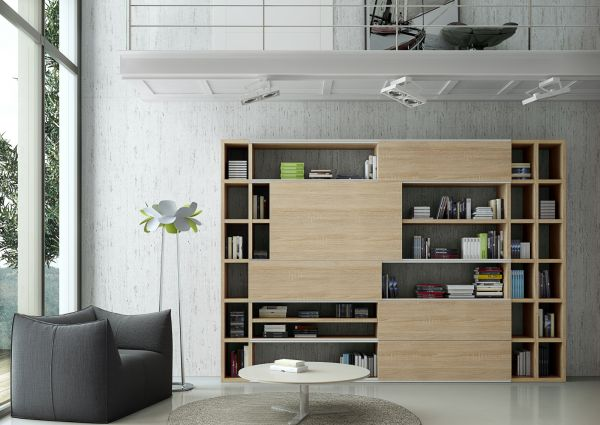 Wohnwand Bücherwand Dekor Lack weiß Hochglanz Eiche Natur LED-Beleuchtung Breite 227 cm