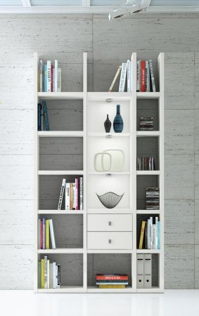 Wohnwand Bücherwand MDor Dekor Lack weiß matt LED-Beleuchtung Breite 120 cm