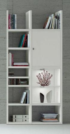 Bücherregal Bücherwand Dekor Lack weiß matt LED-Beleuchtung Breite 108 cm