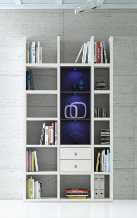 wohnwand b cherwand bibliothek lack wei schwarz. Black Bedroom Furniture Sets. Home Design Ideas