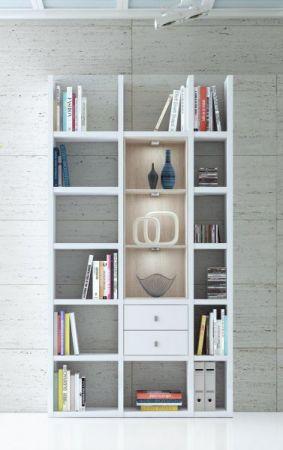 Wohnwand Bücherwand MDor Dekor Lack weiß matt schwarz LED-Beleuchtung Breite 120 cm