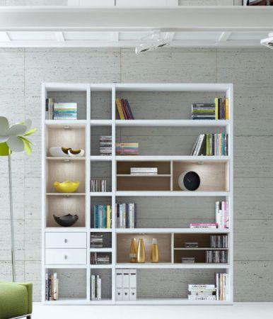 Wohnwand Bücherwand MDor Dekor Lack weiß matt Eiche Natur LED-Beleuchtung Breite 120 cm
