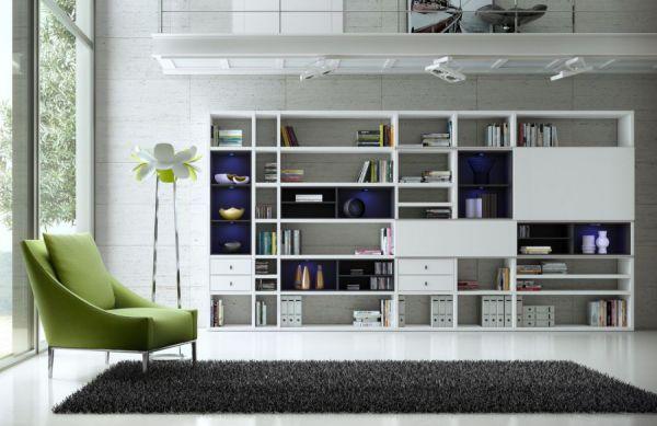 Wohnwand Bücherwand MDor Dekor Lack weiß Hochglanz schwarz LED-Beleuchtung Breite 120 cm