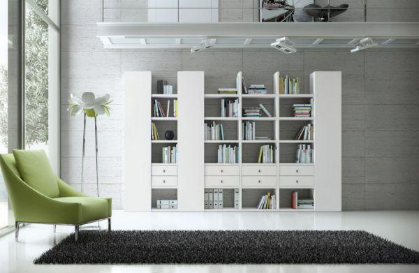 Wohnwand Bücherwand Dekor Lack weiß Hochglanz