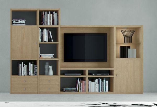 Wohnwand Mediawand Bücherwand MDorEiche Natur Lack weiß matt mit TV-Fach LED-Beleuchtung