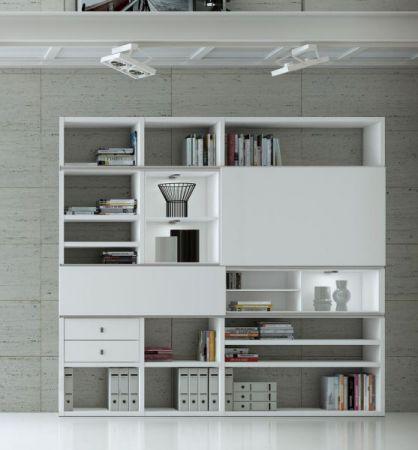 Wohnwand Bücherwand MDor Dekor Lack weiß matt LED-Beleuchtung Breite 178 cm