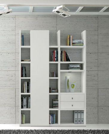 Wohnwand Bücherwand MDor Dekor Lack weiß matt LED-Beleuchtung Breite 152 cm