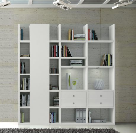 Wohnwand Bücherwand Dekor Lack weiß Hochglanz LED-Beleuchtung Breite 212 cm