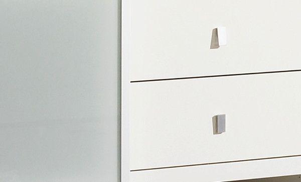 Bürowand/Homeoffice mit Einbauschreibtisch Lack weiß mit Eiche Natur Breite 304 cm