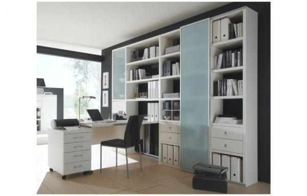 Bürowand/Aktenschrank mit Schreibtisch und Rollcontainer Lack weiß matt Breite 276 cm