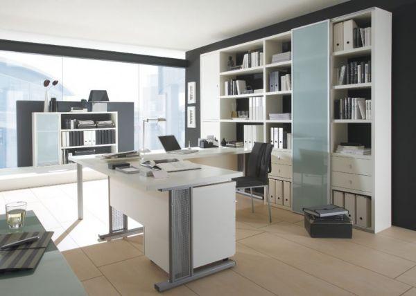 Bürowand/Aktenschrank mit Winkelschreibtisch und Rollcontainer Lack weiß matt Breite 276 cm