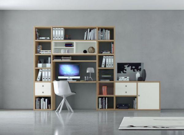 Bürowand/Homeoffice mit Einbauschreibtisch Lack weiß matt Breite 213 cm