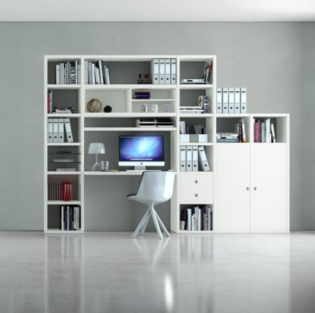 Bürowand/Homeoffice mit Einbauschreibtisch Eiche Natur mit Lack weiß Breite 304 cm