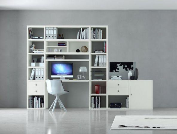 Bürowand/Homeoffice mit Einbauschreibtisch Eiche Natur mit Lack weiß matt Breite 213 cm