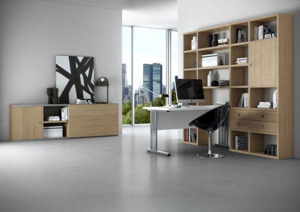 Bürowand/Homeoffice mit Einbauschreibtisch Lack weiß matt mit Eiche Natur Breite 213 cm