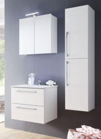 Badmöbel Intenso in Hochglanz weiß Lack Set 3-teilig Spiegelschrank Waschtisch inkl. Waschbecken 60 cm
