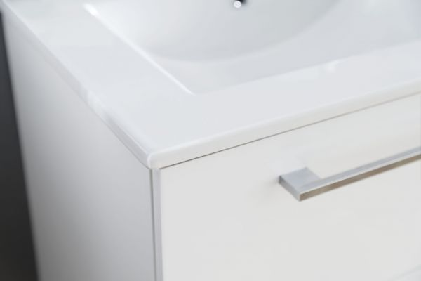Badmöbel Intenso Hochglanz weiß Lack Set 3-teilig, Spiegel Waschtisch und Waschbecken