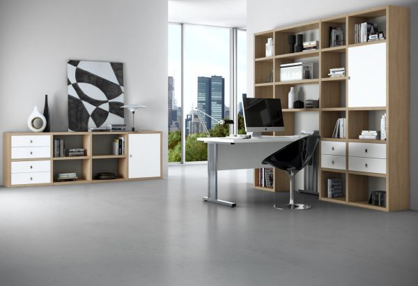 Bürowand/Sektretär mit Einbauschreibtisch Eiche Natur mit Lack weiß matt Breite 245 cm