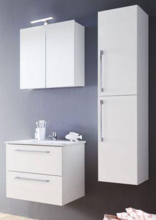 Waschbeckenunterschrank Set mit Waschbecken Intenso Hochglanz weiß Lack 60 cm Waschtisch komplett